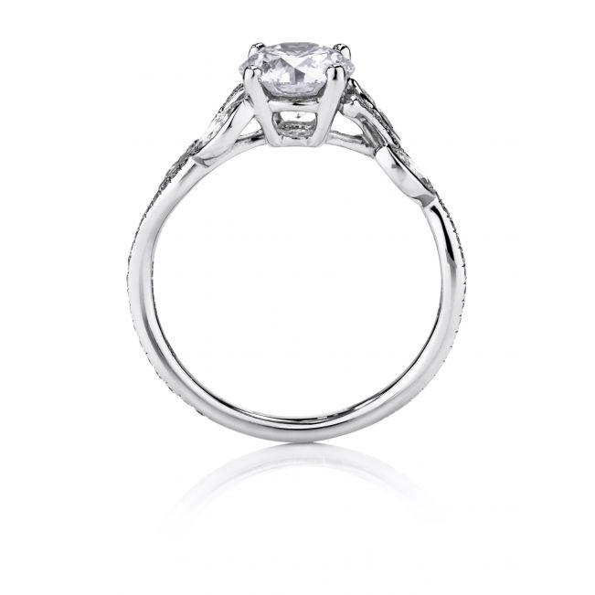 Кольцо с бриллиантом и веточками из бриллиантов по бокам - Фото 1