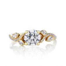 Кольцо золотое с бриллиантом и веточками по бокам