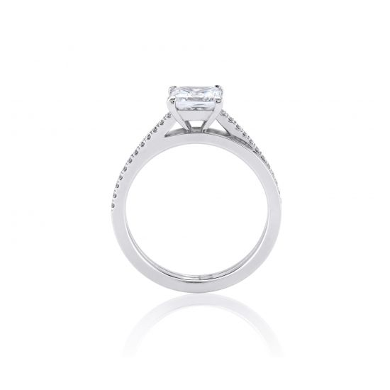 Кольцо с бриллиантом Принцесса и паве,  Больше Изображение 2