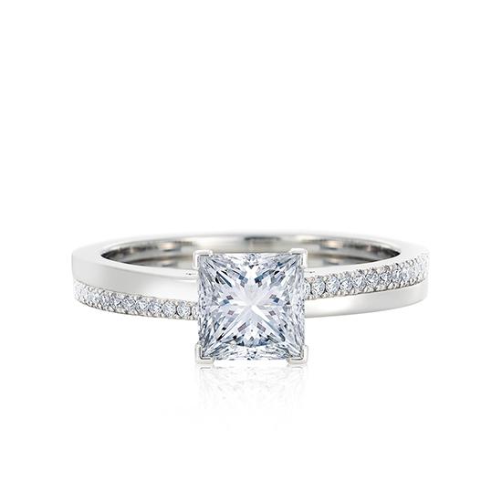 Кольцо с бриллиантом Принцесса и паве, Больше Изображение 1