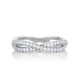 Кольцо бесконечность с двойной дорожкой из бриллиантов