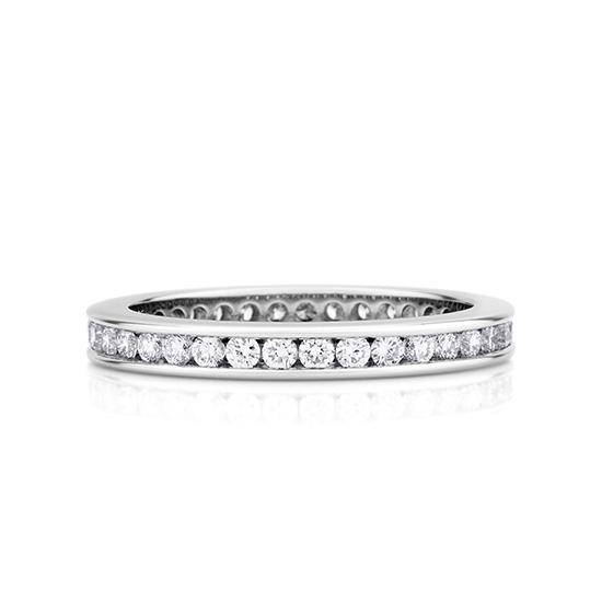 Кольцо дорожка из круглых бриллиантов в канальной закрепке, Больше Изображение 1