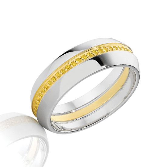 Широкое кольцо с дорожкой из желтых бриллиантов, Больше Изображение 1
