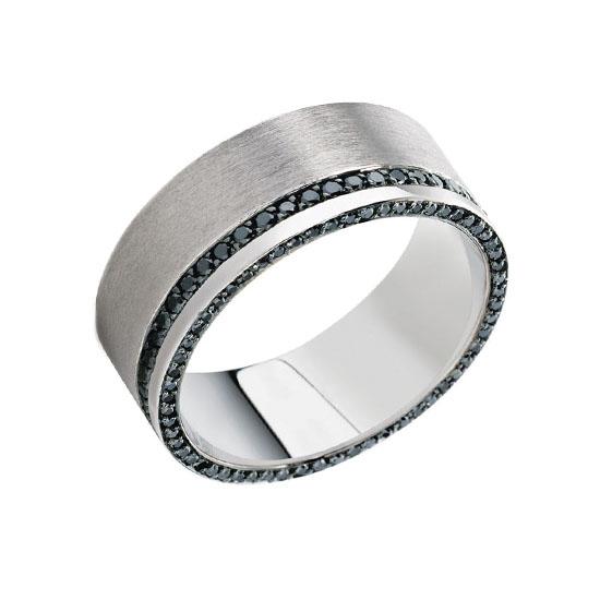 Мужское кольцо с двойной дорожкой из черных бриллиантов, Больше Изображение 1
