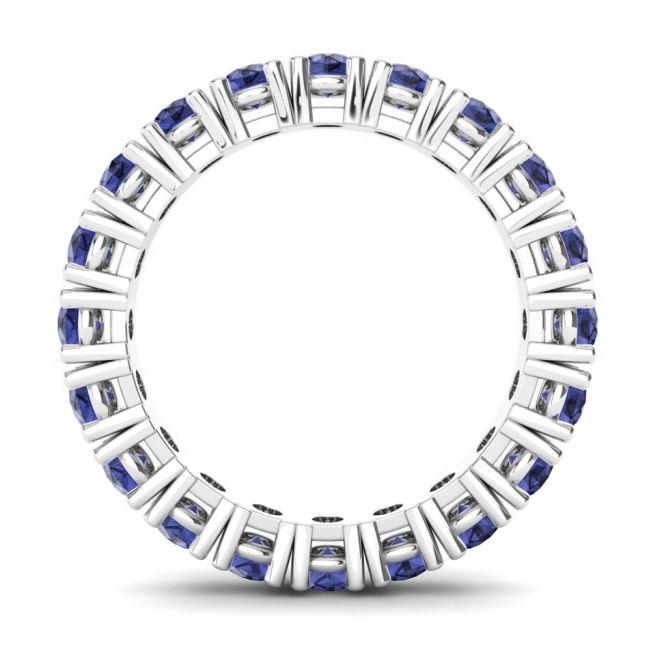 Кольцо дорожка из сапфиров круглой огранки