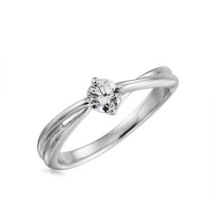 Кольцо переплетеное с круглым бриллиантом