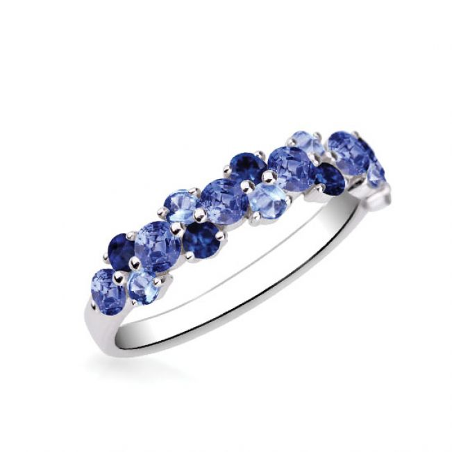 Кольцо дорожка с синими сапфирами