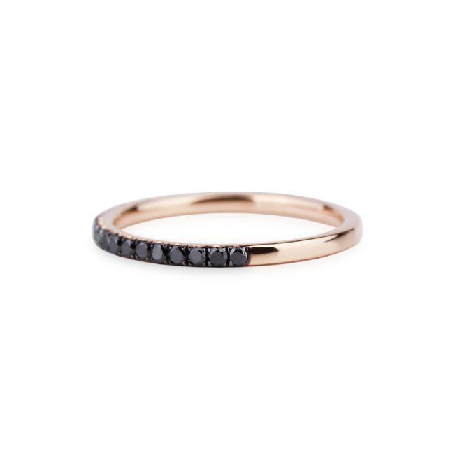 Кольцо полудорожка с черными бриллиантами