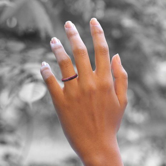 Кольцо полудорожка с черными бриллиантами,  Больше Изображение 4