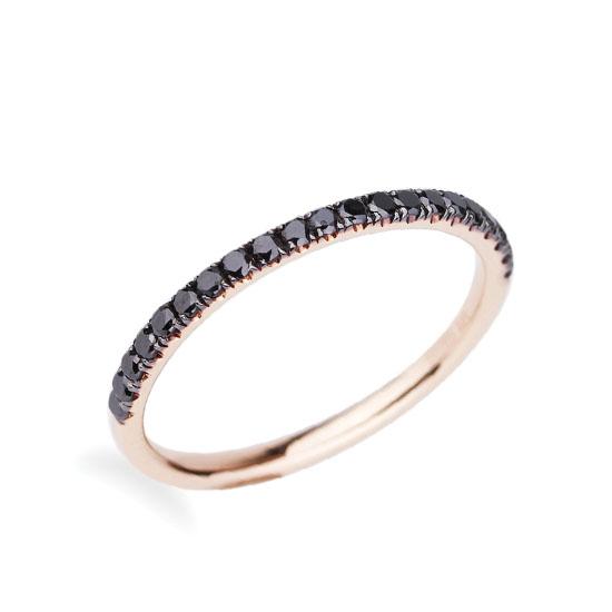 Кольцо полудорожка с черными бриллиантами, Больше Изображение 1