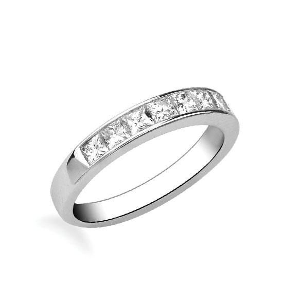 Кольцо дорожка с 10 квадратными бриллиантами 1.60 карата, Больше Изображение 1