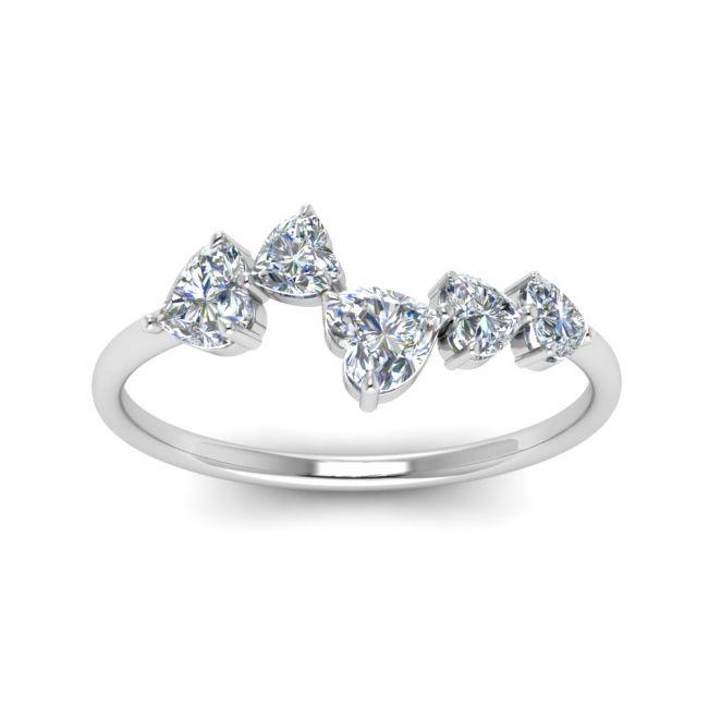 Кольцо с 5 камнями в формме сердца