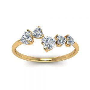 Кольцо с 5 камнями огранки сердце