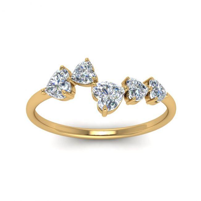 Кольцо с 5 камнями огранки сердце - Фото 2