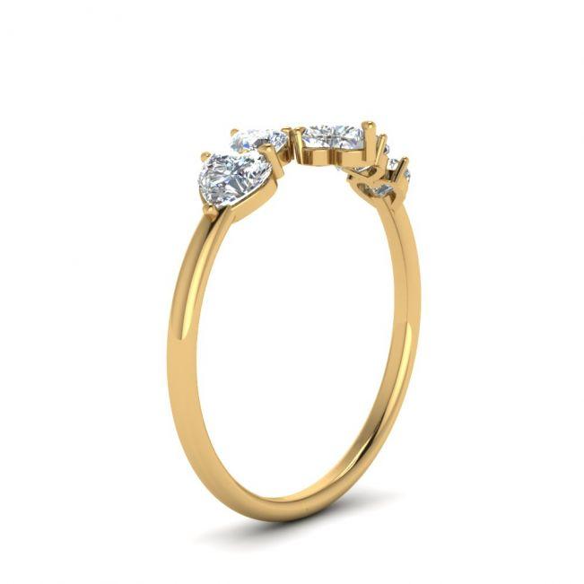 Кольцо с 5 камнями огранки сердце - Фото 1