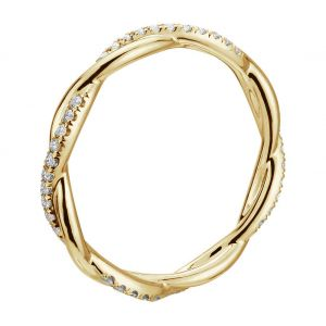 Плетеное кольцо дорожка с белыми бриллиантами