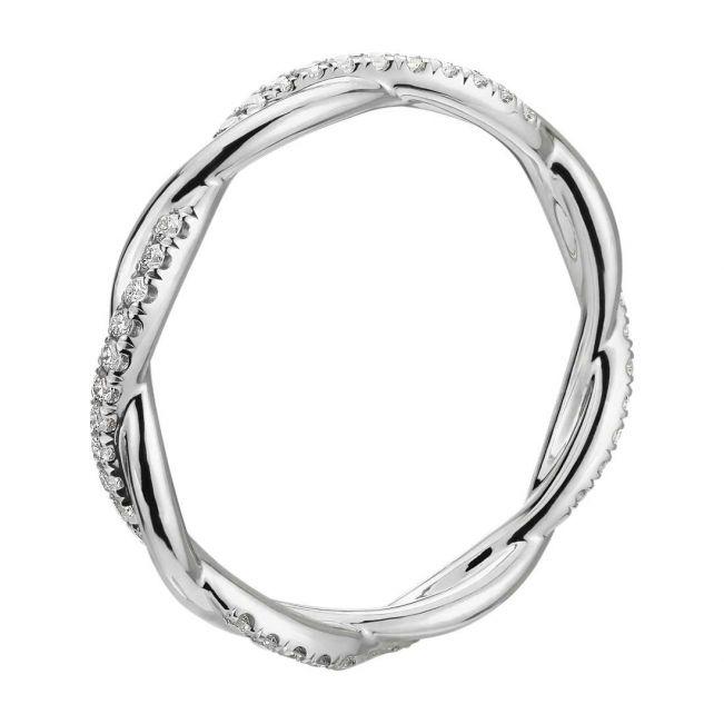 Плетеное кольцо дорожка с бриллиантами