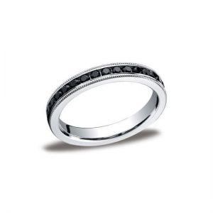 Кольцо дорожка с черными бриллиантами из белого золота