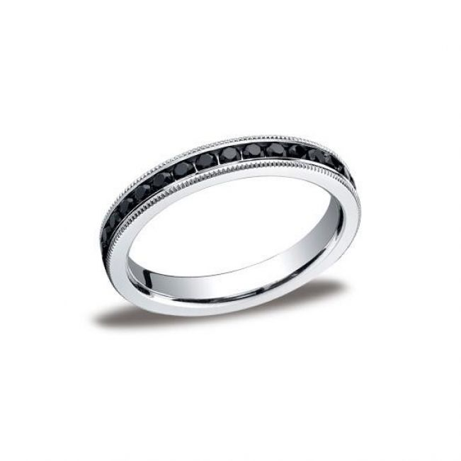 Кольцо дорожка с черными бриллиантами из белого золота - Фото 2