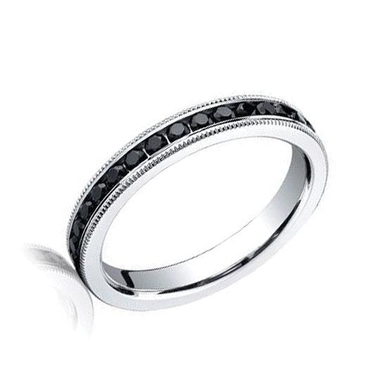 Кольцо дорожка с черными бриллиантами из белого золота, Больше Изображение 1
