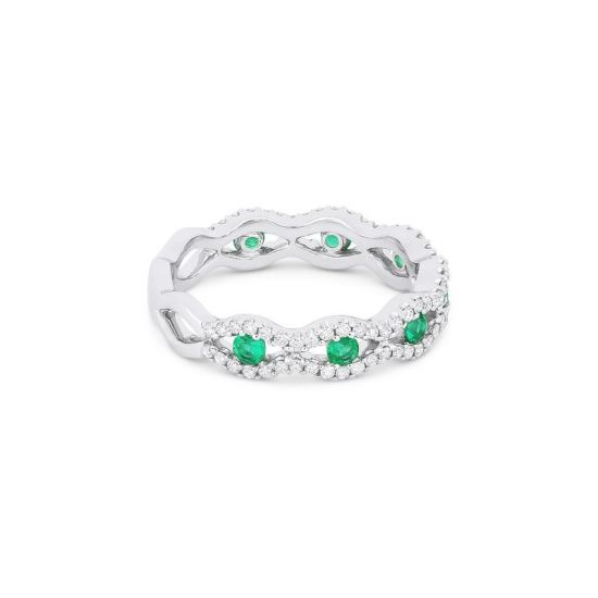 Широкое кольцо дорожка с центральными изумрудами,  Больше Изображение 2