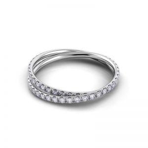 Дизайнерское кольцо с переплетением полудорожек с бриллиантами