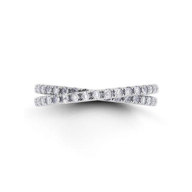 Кольцо с переплетением дорожек с бриллиантами - Фото 1