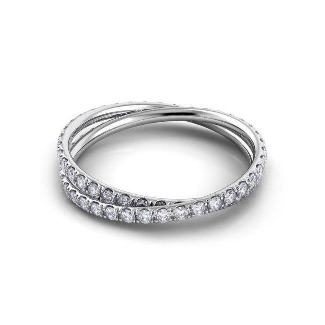 Кольцо с переплетением дорожек с бриллиантами - Фото 2