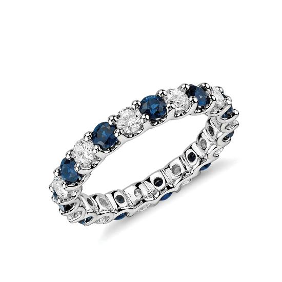 Кольцо дорожка с сапфирами и бриллиантами 3 мм, Больше Изображение 1