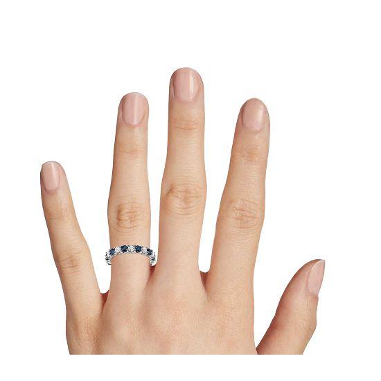 Кольцо дорожка с сапфирами и бриллиантами 3 мм,  Больше Изображение 2