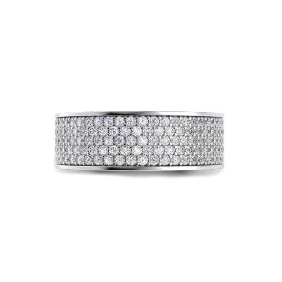 Широкое кольцо с 5 рядами дорожек из бриллиантов,  Больше Изображение 2