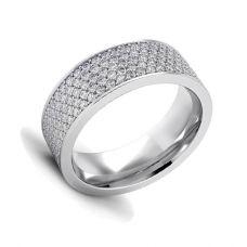 Широкое кольцо с 5 рядами дорожек из бриллиантов