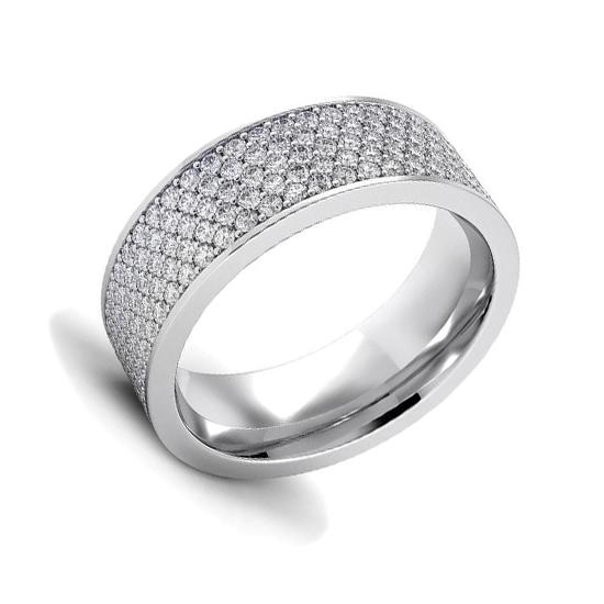 Широкое кольцо с 5 рядами дорожек из бриллиантов, Больше Изображение 1