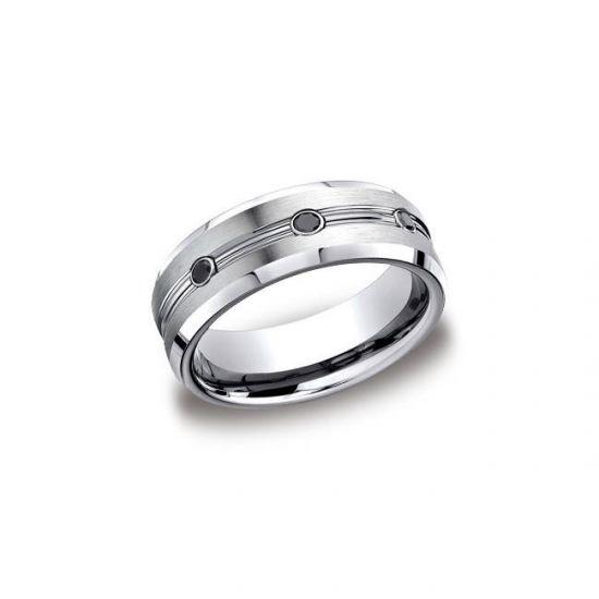 Мужское кольцо с черными бриллиантами,  Больше Изображение 3