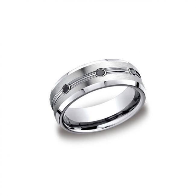 Мужское кольцо с черными бриллиантами