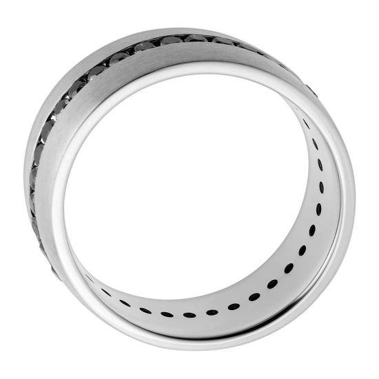 Мужское кольцо дорожка с черными бриллиантами,  Больше Изображение 3