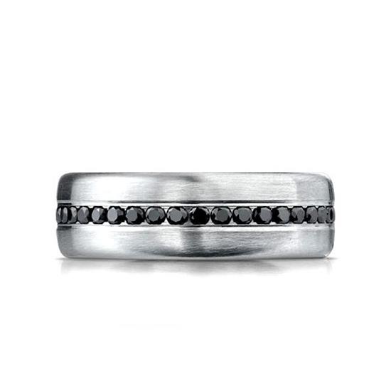 Мужское кольцо дорожка с черными бриллиантами, Больше Изображение 1