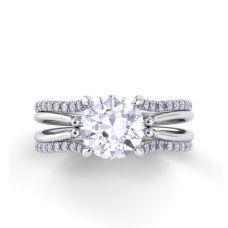 Кольцо двойное с бриллиантом и дорожкой