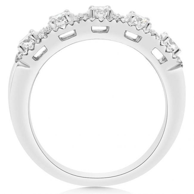 Кольцо ажурное с 5 бриллиантами в паве - Фото 1