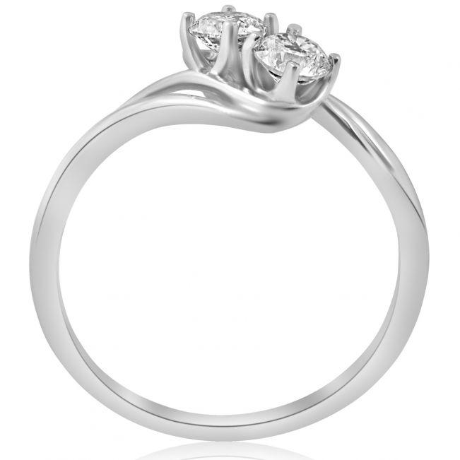 Кольцо с двумя небольшими бриллиантами - Фото 2