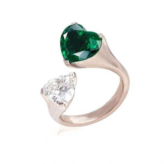 Кольцо с бриллиантом и изумрудом