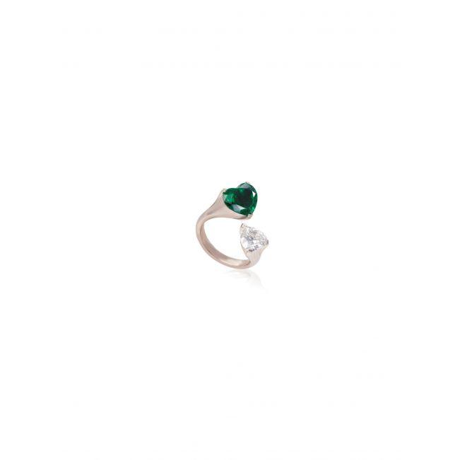 Кольцо с бриллиантом и изумрудом - Фото 1