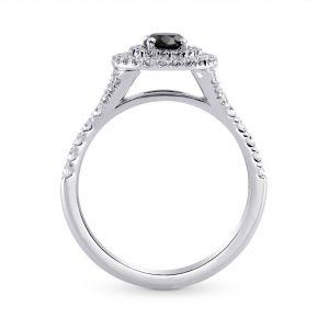 Кольцо с черным бриллиантом в двойном ореоле