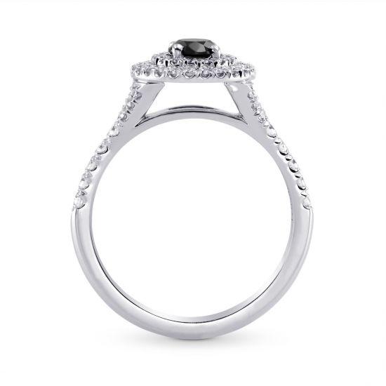 Кольцо с черным бриллиантом в двойном ореоле,  Больше Изображение 2