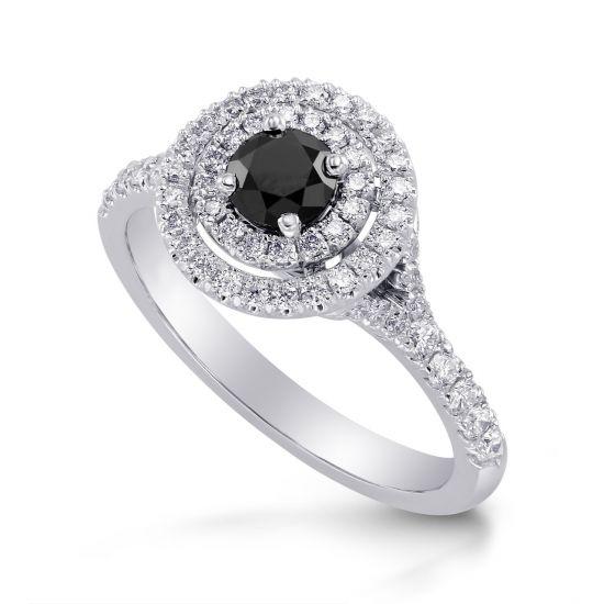 Кольцо с черным бриллиантом в двойном ореоле,  Больше Изображение 3
