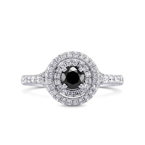 Кольцо с черным бриллиантом в двойном ореоле, Больше Изображение 1
