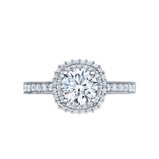 Кольцо с бриллиантом в ореоле и дорожкой, Больше Изображение 1