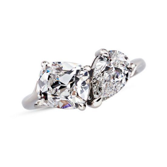 Кольцо с двумя крупными бриллиантами,  Больше Изображение 2