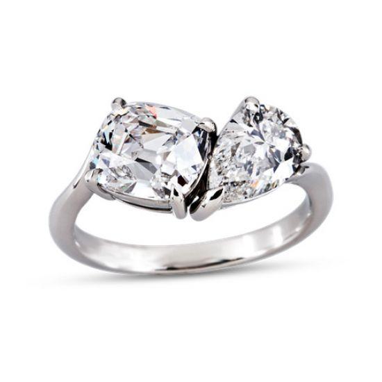 Кольцо с двумя крупными бриллиантами,  Больше Изображение 3
