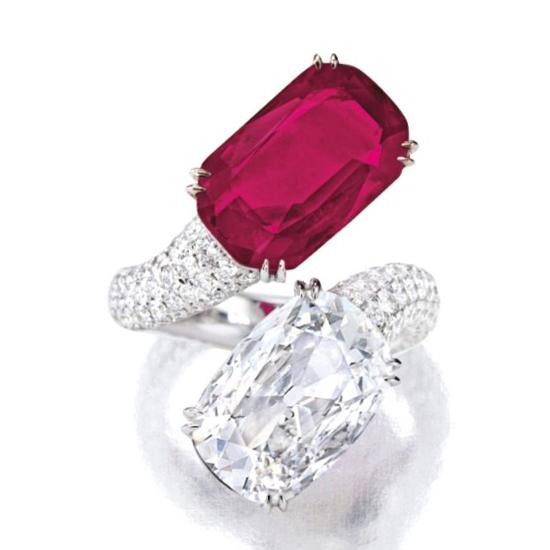 Кольцо с рубином и бриллиантом, Больше Изображение 1
